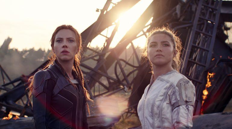 Scarlett Johansson and Yelena Florence Pugh in scene from BLACK WIDOW,